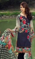 Printed and embroided front 1.25 M Printed back and sleeves 1.9M Dyed trouser 2.5 M, Chiffon Dupatta 2.5M