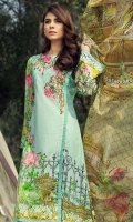 Printed and Embroided front 1.25 M Printed back and sleeves 1.9 Printed trouser 2.5 M Chiffon Dupatta 2.5M