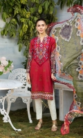 LAWN PRINTED SHIRT ORGANZA EMBROIDERED PATCH FOR FRONT ORGANZA EMBROIDERED BORDER FOR FRONT CHIFFON PRINTED DUPATTA ORGANZA EMBROIDERED PATCH FOR TROUSER PLAIN TROUSER