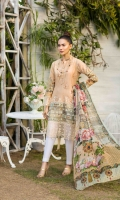LAWN PRINT EMBROIDERED FRONT LAWN PRINTED BACK AND SLEEVES ORGANZA EMBROIDERED BORDER FOR FRONT ORGANZA EMBROIDERED BORDER FOR SLEEVES CHIFFON PRINTED DUPATTA PLAIN TROUSER