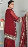 Embroidered Chiffon Shirt and Sleeves Embroidered Chiffon Dupatta Dyed Bottom