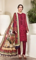 EMBROIDERED  CHIFFON FRONT EMBROIDERED CHIFFON BACK EMBROIDERED CHIFFON SLEEVES PURE TISSUE SILK DUPATTA EMBROIDERED SLEEVES GRIP BORDERS EMBROIDERED FRONT & BACK BORDERS DYED TROUSER