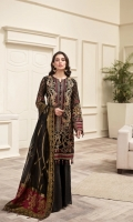 EMBROIDERED  CHIFFON FRONT EMBROIDERED CHIFFON BACK EMBROIDERED CHIFFON SLEEVES DYED ORGANZA JACQUARD DUPATTA EMBROIDERED SLEEVES BORDER EMBROIDERED FRONT & BACK BORDERS DYED TROUSER DYED ORGANZA PATCH