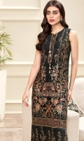 EMBROIDERED CHIFFON FRONT EMBROIDERED CHIFFON BACK EMBROIDERED FRONT & BACK BORDERS  EMBROIDERED CHIFFON DUPATTA EMBROIDERED DUPATTA BORDER DYED TROUSER TROUSER PATCH