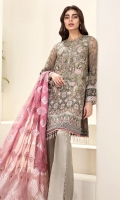 EMBROIDERED  CHIFFON FRONT EMBROIDERED CHIFFON BACK EMBROIDERED CHIFFON SLEEVES EMBROIDERED SLEEVES GRIP BORDER EMBROIDERED SLEEVES ORGANZA BORDER EMBROIDERED FRONT & BACK BORDERS DYED ORGANZA JACQUARD DUPATTA DYED TROUSER DYED ORGANZA