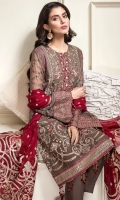 EMBROIDERED CHIFFON FRONT EMBROIDERED CHIFFON BACK EMBROIDERED CHIFFON SLEEVES EMBROIDERED SLEEVES BORDER EMBROIDERED FRONT & BACK BORDERS EMBROIDERED CHIFFON DUPATTA EMBROIDERED DUPATTA PATCH DYED TROUSER
