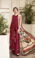 EMBROIDERED  CHIFFON FRONT EMBROIDERED CHIFFON BACK PURE TISSUE SILK DUPATTA EMBROIDERED FRONT & BACK BORDERS DYED TROUSER