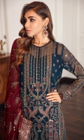 Embroidered Chiffon Front Embroidered Chiffon Back Embroidered Front & Back Borders Embroidered Chiffon Sleeves Embroidered Sleeves Borders Embroidered Chiffon Dupatta Embroidered Trouser Patch Dyed Raw Silk Trouser