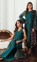 Embroidered Chiffon Front Embroidered Chiffon Back Embroidered Front & Back Borders Embroidered Chiffon Sleeves Embroidered Sleeves Border Embroidered Chiffon Dupatta Embroidered Dupatta Patches Dyed Raw Silk Trouser