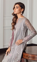 Embroidered Chiffon Front Embroidered Chiffon Back Embroidered Front & Back Borders Embroidered Chiffon Sleeves Embroidered Sleeves Border Embroidered Tie & Dye Organza Dupatta Embroidered Dupatta Borders Dyed Raw Silk Trouser