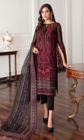 Embroidered Chiffon Front Embroidered Chiffon Back Embroidered Front & Back Borders Embroidered Chiffon Sleeves Embroidered Sleeves Border Embroidered Organza Dupatta Embroidered Dupatta Patches Dyed Raw Silk Trouser