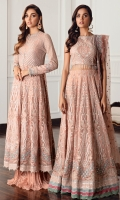 Embroidered Chiffon Front Body Embroidered Chiffon Back Body Embroidered Border Patch Embroidered Chiffon Flare Panels Embroidered Chiffon Sleeves Embroidered Sleeves Border Embroidered Net Dupatta Dyed Raw Silk Trouser