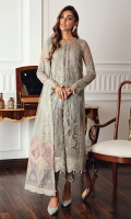 Embroidered Net Right & Left Panels Embroidered Net Back Embroidered Front & Back Borders Embroidered Net Sleeves Embroidered Net Dupatta Embroidered Dupatta Patches Dyed Raw Silk Trouser