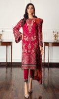 Embroidered Chiffon Front Embroidered Chiffon Back Embroidered Front & Back Borders Embroidered Chiffon Sleeves Embroidered Chiffon Sleeves Borders Embroidered Organza Dupatta Embroidered Dupatta Patches Embroidered Trouser Patch Dyed Raw Silk Trouser