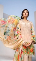 Digital Printed Shirt Embroidered Neck Patti Embroidered Front Border Patch Digital Printed Chiffon Dupatta Dyed Trouser