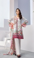 Digital Printed Shirt Embroidered Neck Patch Embroidered Neck Patti Embroidered Front Border Patch Digital Printed Chiffon Dupatta Dyed Trouser