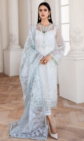EMBROIDERED NET FRONT EMBROIDERED NET BACK EMBROIDERED NET SLEEVES EMBROIDERED FRONT & BACK BORDER EMBROIDERED SLEEVES BORDERS PASTE PRINTED ORGANZA DUPATTA DYED TROUSER
