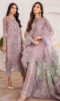 EMBROIDERED NET FRONT EMBROIDERED NET BACK EMBROIDERED NET SLEEVES EMBROIDERED SLEEVES BORDER EMBROIDERED FRONT & BACK BORDERS EMBROIDERED NET DUPATTA EMBROIDERED DUPATTA PATCHES DYED TROUSER