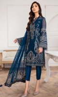 EMBROIDERED CHIFFON FRONT EMBROIDERED CHIFFON SIDE PANNELS EMBROIDERED CHIFFON BACK EMBROIDERED CHIFFON SLEEVES EMBROIDERED CHIFFON DUPATTA EMBROIDERED FRONT & BACK BORDER EMBROIDERED SLEEVES BOREDR DYED TROUSER