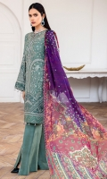 EMBROIDERED CHIFFON FRONT EMBROIDERED CHIFFON BACK EMBROIDERD CHIFFON SLEEVES EMBROIDERED CHIFFON SLEEVES BORDER EMBROIDERED FRONT & BACK BORDERS DIGITAL PRINTED VISCOSE SILK DUPATTA DYED TROUSER