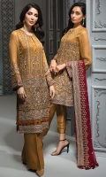 EMBROIDERED CHIFFON FRONT  EMBROIDERED CHIFFON BACK EMBROIDERED CHIFFON SLEEVES  EMBROIDERED CHIFFON DUPATTA  EMBROIDERED SLEEVES BORDER  EMBROIDERED FRONT & BACK BORDERS  EMBROIDERED ORGANZA FRONT & BACK BORDER PATCH  DYED TROUSER