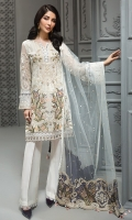 EMBROIDERED CHIFFON FRONT EMBROIDERED CHIFFON BACK  EMBROIDERED CHIFFON SLEEVES  EMBROIDERED NET DUPATTA  EMBROIDERED DUPATTA PATCHES  EMBROIDERED SLEEVES BORDER  EMBROIDERED FRONT & BACK BORDERS  EMBROIDERED SLEEVES ORGANZA PATCH  DYED ORGANZA DYED TROUSER