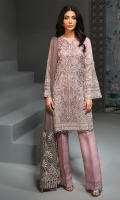 EMBROIDERED CHIFFON FRONT EMBROIDERED CHIFFON BACK  EMBROIDERED CHIFFON SLEEVES  EMBROIDERED NET DUPATTA EMBROIDERED SLEEVES BORDER  EMBROIDERED FRONT & BACK BORDERS  EMBROIDERED SLEEVES & TROUSER ORGANZA PATCH  DYED TROUSER