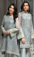 EMBROIDERED CHIFFON FRONT  EMBROIDERED CHIFFON BACK  EMBROIDERED CHIFFON SLEEVES EMBROIDERED NET DUPATTA  EMBROIDERED SLEEVES BORDER  EMBROIDERED FRONT & BACK BORDERS  DYED TROUSER