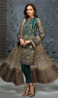 EMBROIDERED CHIFFON FRONT EMBROIDERED CHIFFON BACK  EMBROIDERED CHIFFON SLEEVES  EMBROIDERED NET DUPATTA EMBROIDERED VELVET DUPATTA PATCHES  EMBROIDERED VELVET SLEEVES BORDER  EMBROIDERED VELVET FRONT & BACK BORDERS  EMBROIDERED VELVET NECK PATCH  DYED TROUSER