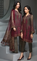 EMBROIDERED CHIFFON FRONT PANEL  EMBROIDERED CHIFFON FRONT SIDE PANELS EMBROIDERED CHIFFON BACK PANEL EMBROIDERED CHIFFON BACK SIDE PANELS  EMBROIDERED CHIFFON SLEEVES  EMBROIDERED NET DUPATTA  EMBROIDERED SLEEVES BORDER  EMBROIDERED FRONT & BACK BORDERS DYED TROUSER