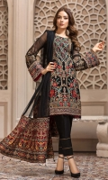 Embroidered Chiffon Front  Embroidered Chiffon Back Embroidered Chiffon Sleeves Embroidered Net Dupatta Embroidered Front & Back Border Embroidered Sleeves Border Dyed Raw Silk Trouser