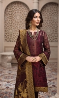 Embroidered Chiffon Front Embroidered Chiffon Side Panels Embroidered Chiffon Back Embroidered Chiffon Sleeves Jamawar Chiffon Dupatta Embroidered Front & Back Borders Embroidered Sleeves Borders Embroidered Neck Patti Dyed Raw Silk Trouser
