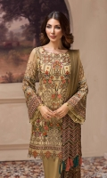 Embroidered Chiffon Front Embroidered Chiffon Side Panels Embroidered Chiffon Back Embroidered Chiffon Sleeves Embroidered Net Dupatta Embroidered Front & Back Borders Embroidered Sleeves Border Dyed Raw Silk Trouser