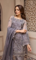Embroidered Chiffon Front Panel Embroidered Chiffon Front & Back Side Panels Embroidered Chiffon Back Panel Embroidered Chiffon Sleeves Jamawar Viscose Dupatta Embroidered Dupatta Patch Embroidered Front, Back & Sleeves Border Dyed Raw Silk Trouser