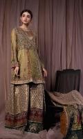 Gown : Khadi net, Organza Under Shirt : Banarsi Jamawar Sharara : Banarsi Jamawar