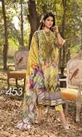 Digital Print & Embroidered Jacquard Lawn Shirt With Digital Printed Chiffon Dupatta With Plain Cotton Trouser