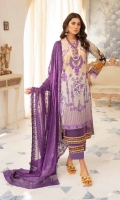 Digital Printed & Embroidered Lawn Shirt With Embroidered Chiffon Dupatta With Plain Cotton Trouser