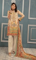 Luxury Digital Printed & Embroidered Swiss Voile Shirt With Digital Printed Chiffon Dupatta With Plain Cotton Trouser