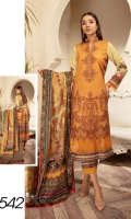 Digital Printed & Embroidered Lawn Shirt With Digital Printed Luxury Lawn Dupatta With Plain Cotton Trouser