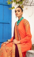 Embroidered Lawn Shirt With Embroidered Chiffon Dupatta With Embroidered Cotton Trouser