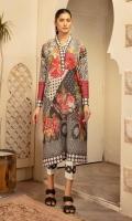 Digital Printed Banarsi Lawn Shirt With Digital Printed Luxury Chiffon Dupatta With Plain Cotton Trouser
