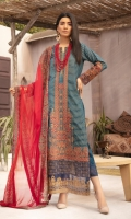 Embroidered Banarsi Lawn Shirt With Embroidered Chiffon Dupatta With Embroidered Cotton Trouser
