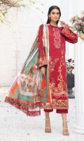 Embroidered Lawn Shirt With Embroidered / Printed Dupatta With Embroidered Trouser