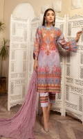 Digital Printed Lawn Shirt With Embroidered Chiffon Dupatta With Plain Cotton Trouser
