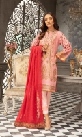 Digital Print & Embroidered Swiss Voile Shirt With Embroidered Chiffon Dupatta With Plain Cotton Trouser
