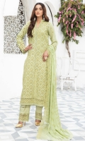 Shiffli Embroidered Lawn Shirt With Shiffli Embroidered Chiffon Dupatta With Plain Cotton Trouser