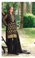 Chiffon Embroidered Front         01 Yard Chiffon Embroidered Back          01 Yard Chiffon Embroidered Sleeves     0.75 Yard Raw Silk Dyed Trouser                 2.5 Meter Net Embroidered Dupatta          2.25 Meter Embroidered Neckline                 1pc Embroidered Sleeves Boarder   1pc