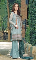 Chiffon Embroidered Front             01 Yard Chiffon Embroidered Back              01 Yard Chiffon Embroidered Sleeves         0.67 Yard Raw Silk Dyed Trouser                     2.5 Meter Net Embroidered Dupatta              2.5 Meter Embroidered Neckline                    1pc Embroidered Front Boarder          1pc
