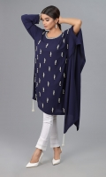 Navy Blue Jorjet ponchu with Embellishments and tassels attached on each end