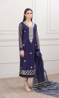 Navy Blue Khaddi net shirt with gota handwork with mirror work on front gala and boti work on the rest of the shirt. The sleeves and daaman border are done with exquisite Gota work stitchedwith perfection.  Dupatta is organza fabric with gota work all over it.